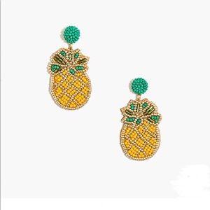 New J. Crew Beaded Pineapple Statement Earrings